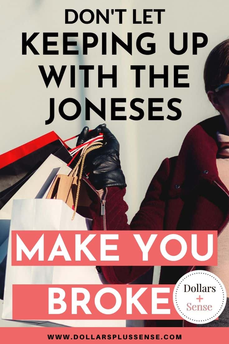 stop keeping up with the joneses pin
