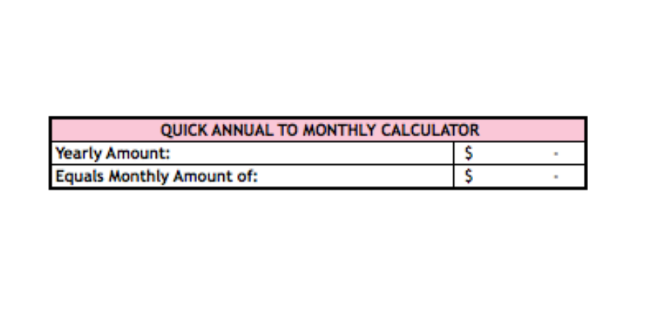 annual to monthly calculator in my budget template