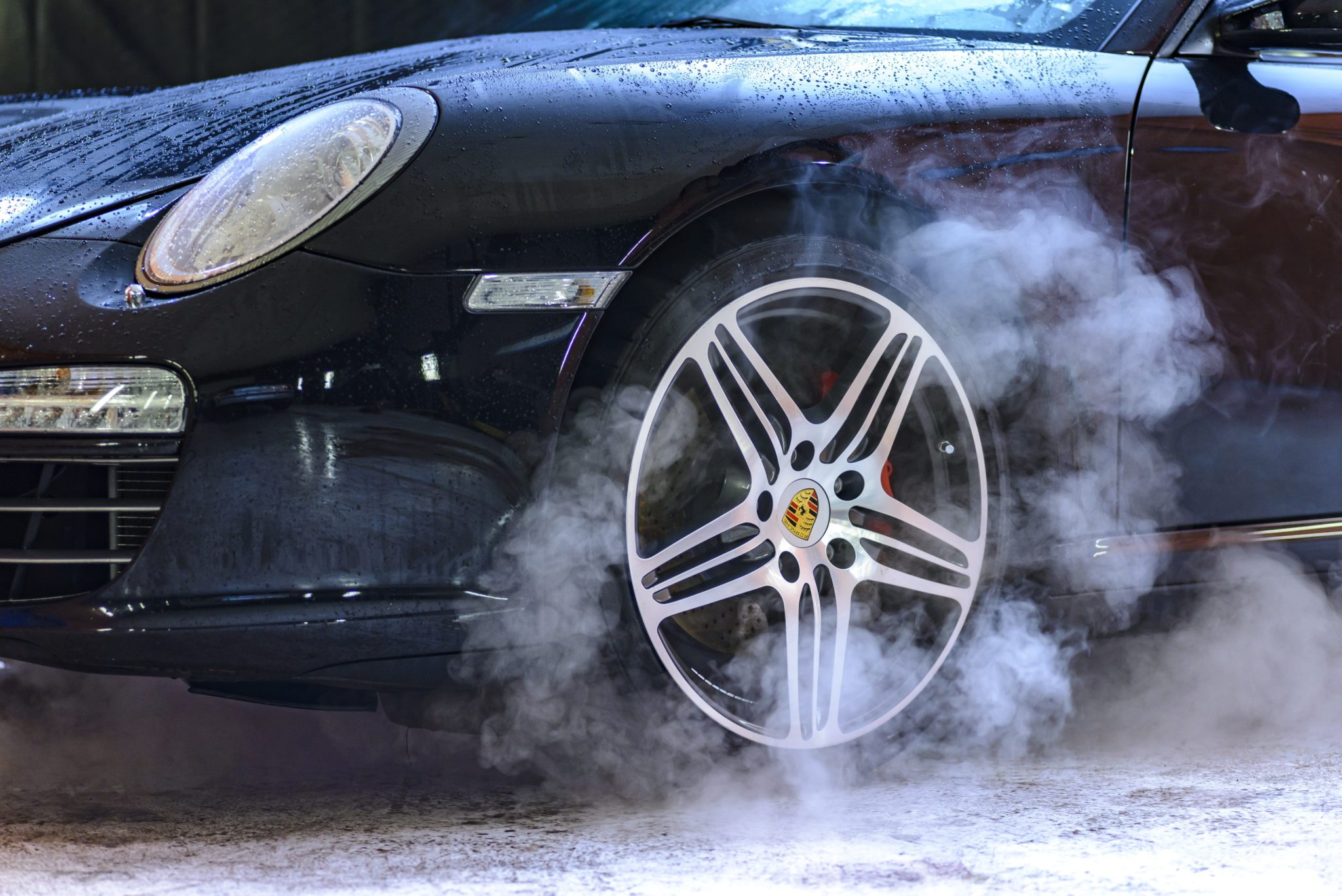 car tires smoking