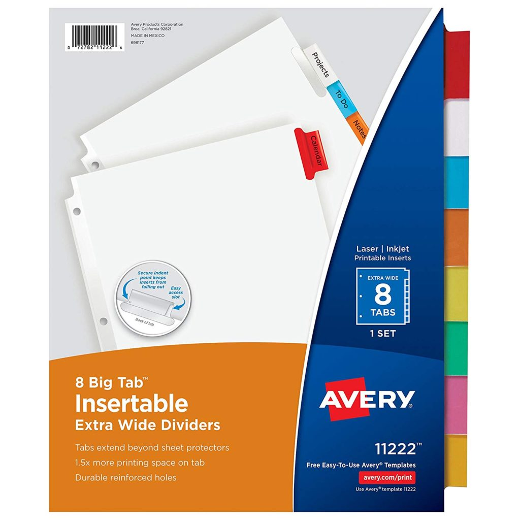 dividers for personal finance binder