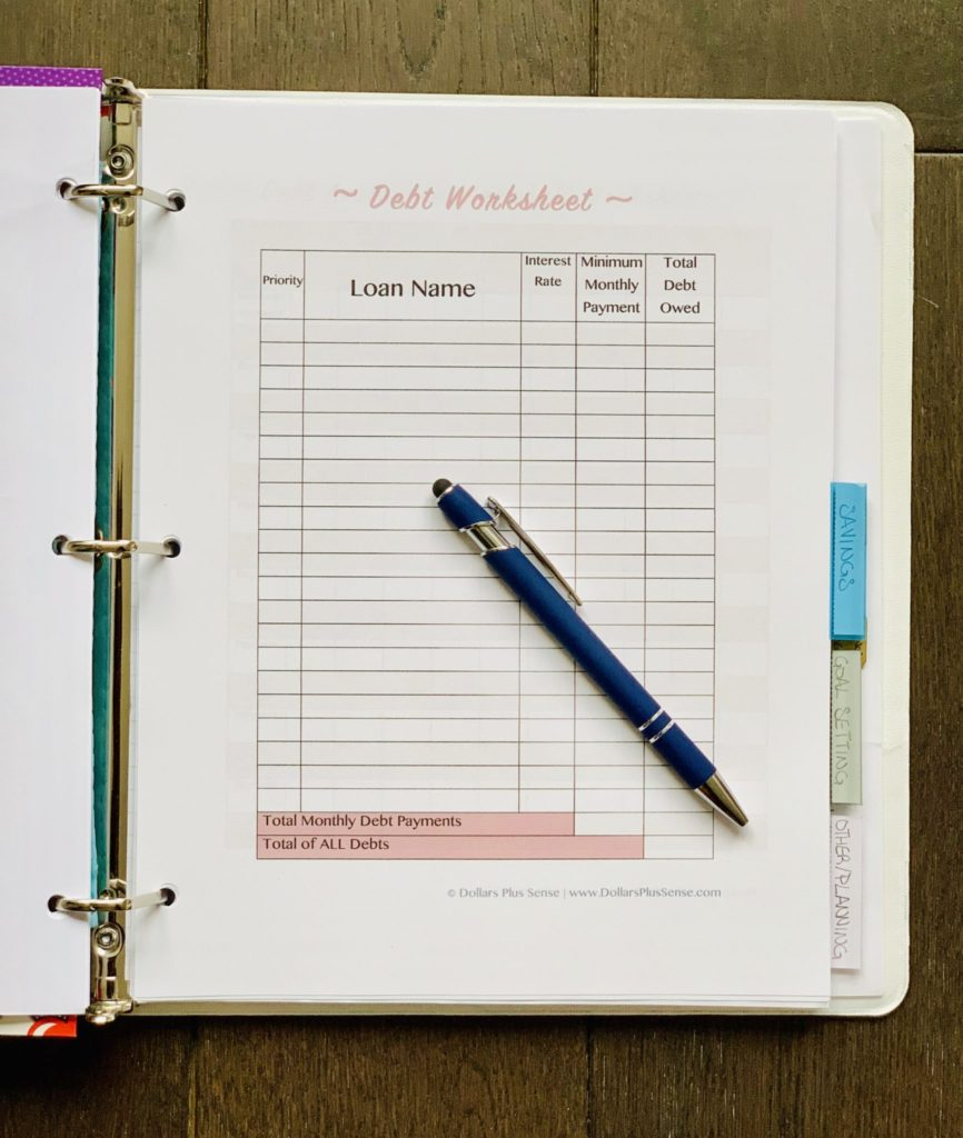 Debt Worksheet Personal Finance Binder