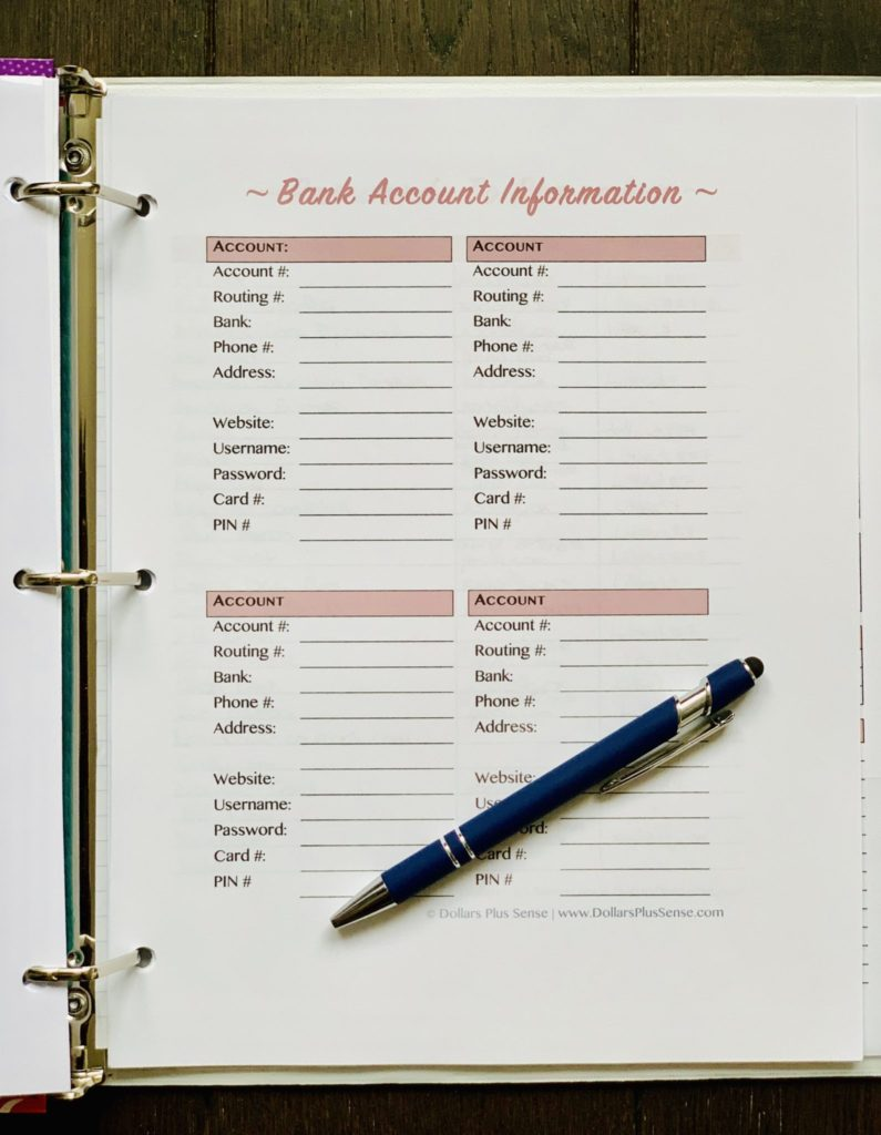 Bank Account Information Budget Organization