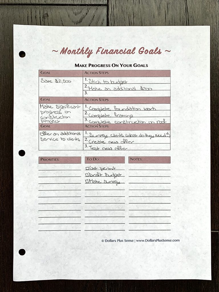 part of my monthly budget planner