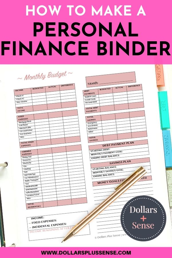 Create A personal Finance Binder pin
