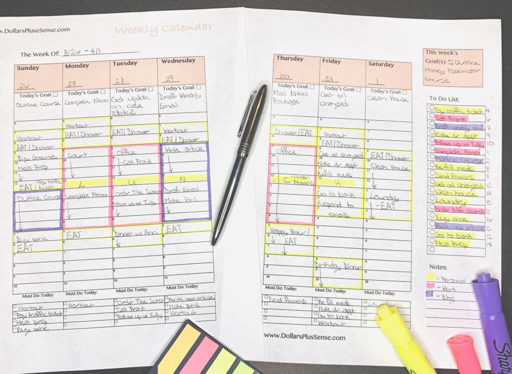 Ways to be more productive Weekly Planner